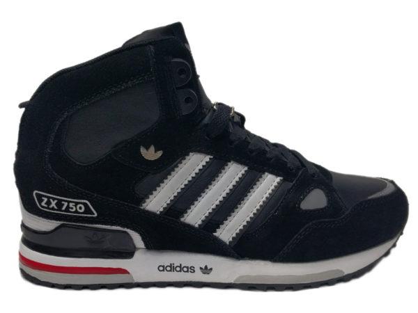Adidas ZX 750 Mid на меху черные с белым (40-46)