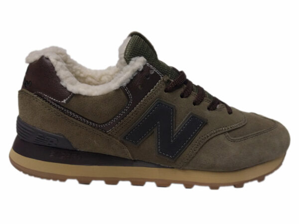 New Balance 574 на меху болотные с коричневым (35-41)