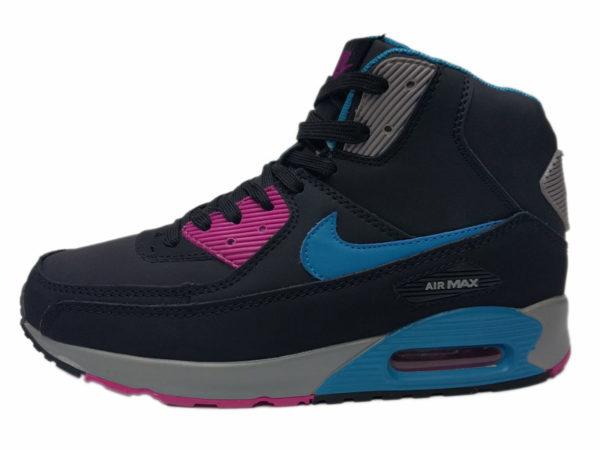 Nike Air Max 90 Mid на меху черные с синим (35-46)