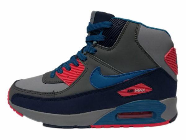 Nike Air Max 90 Mid на меху серые с красно-синим (35-46)