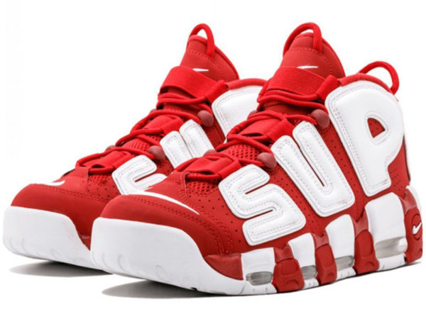 Nike Air More Uptempo X Supreme красные с белым (40-46)