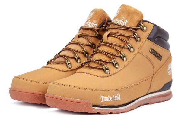 Ботинки Timberland Euro Sprint Brown нубук с мехом светло-коричневые 41-46