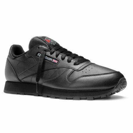 Кроссовки Reebok Classic leather кожаные black чёрные (35-45)