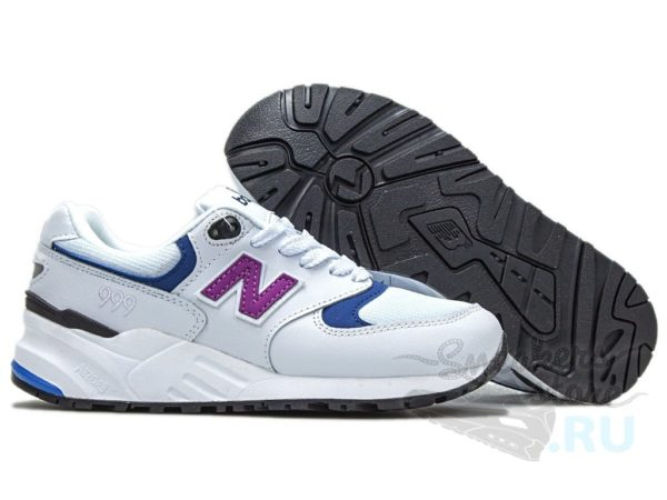 New Balance 999 кожа-сетка белые с синим (36-40)