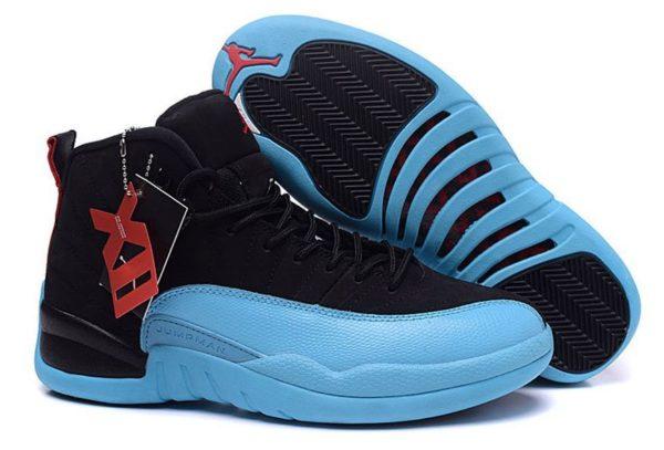 Nike Air Jordan 12 Retro черные с голубым (40-45)