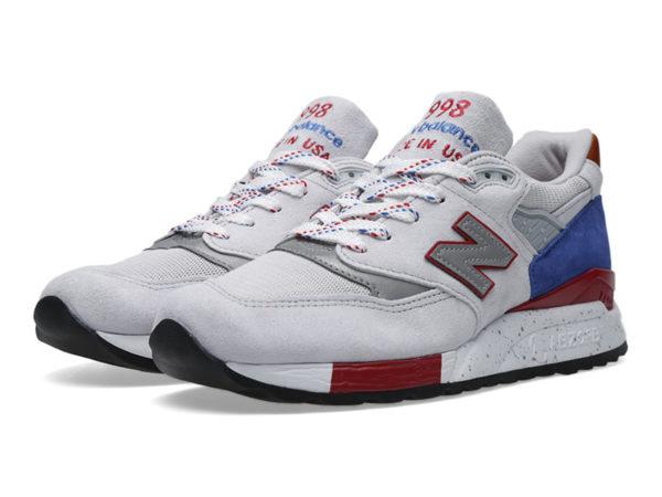 New Balance 998 светло-серые с красным (39-44)