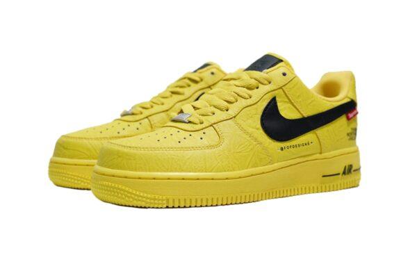 Nike Air Force 1 07 LV8 Lab Low жёлтые с чёрным кожаные мужские (40-44)