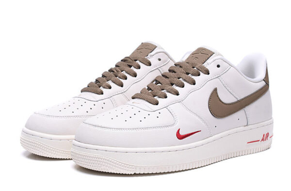 Nike Air Force 1 07 LV8 белые с коричневым кожаные мужские-женские (35-44)