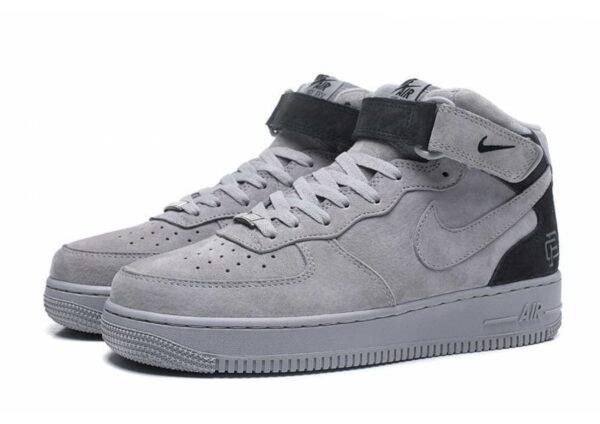 Nike Air Force 1 Mid серые замшевые мужские (40-44)