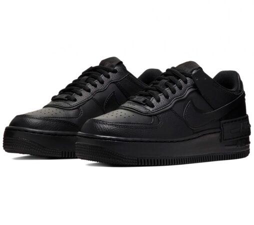 Nike Air Force 1 Shadow черные кожаные мужские-женские (35-44)