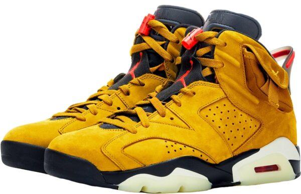 Nike Air Jordan 6 Travis Scott желтые нубук мужские (40-44)