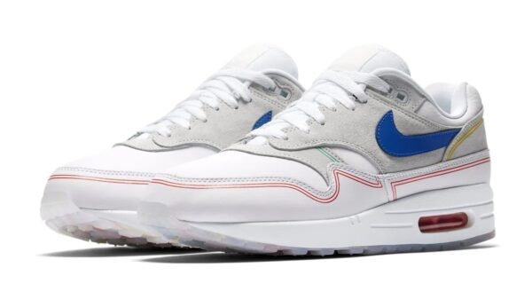 Nike Air Max 87 серо-белые с синим кожа-нубук мужские (40-44)