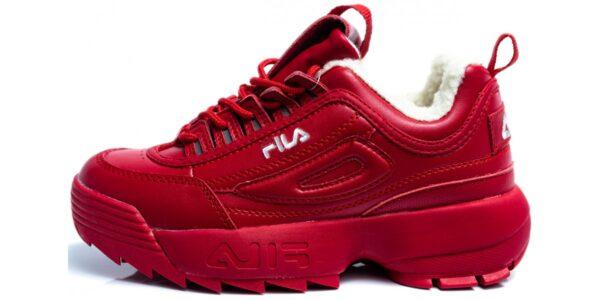 Зимние Fila Disruptor 2 с мехом красные (35-39)