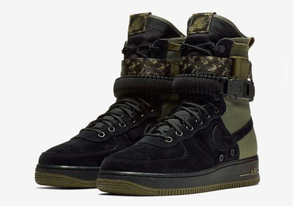 Nike Air Force 1 SF High черно-зеленые нубук-нейлон мужские (40-44)