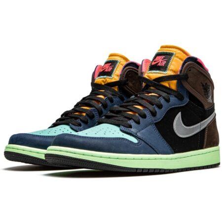 Nike Air Jordan 1 High Tokyo Bio Hack сине-черно-коричневые-голубые нубук мужские (40-45)