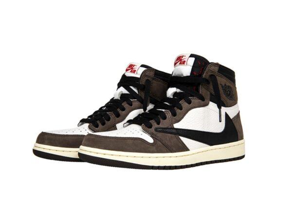 Зимние Nike Air Jordan 1 Travis Scott с мехом коричнево-белый камуфляж с черным (35-44)