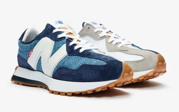 New Balance 327 Levi's синие с серым замшевые мужские-женские (35-44)